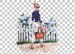 绘图时尚插画插图,文学的女人,女人携带手提包插图PNG剪贴画女商图片