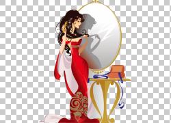 梳子卡通女孩插图,女孩化妆镜PNG剪贴画家具,时尚女孩,摄影,镜子,图片