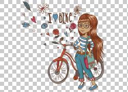 手绘自行车女孩PNG剪贴画水彩画,cdr,时尚女孩,心,背包,时尚,自行图片