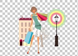 时尚插画绘图,城市女孩PNG剪贴画时尚女孩,电脑,城市,时尚,女人,图片