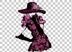 时装秀时装设计插画,女装时尚PNG剪贴画紫色,假期,帽子,时尚女孩,图片