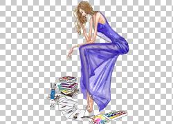 思想插图,思维美女PNG剪贴画紫色,紫罗兰色,人们,时尚插画,绘画,图片