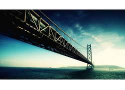 摄影,桥,海,水,景观,河,天空,船,山,建筑,云,吊桥9100图片