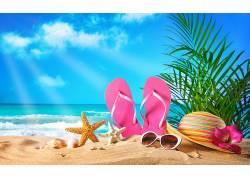 夏日度假沙滩清新图片