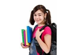 背书包的女孩高清摄影图片图片