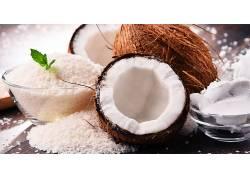 椰子果壳果肉高清摄影图片