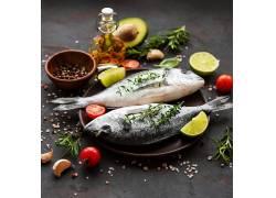冷冻新鲜鱼肉调料高清摄影图片