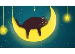 趴在月亮上睡觉的黑猫插画素材图片
