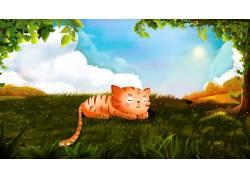 草地上的猫卡通插画