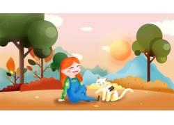 草地上玩耍的猫咪卡通插画