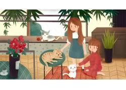 可爱猫咪萌宠插画图片