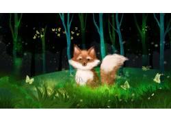 夜晚树林里的狐狸插画素材图片