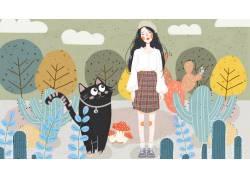 彩色植物黑猫卡通插画图片