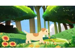 草地上的小狗萌宠插画
