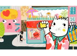 猫咪购物萌宠插画图片