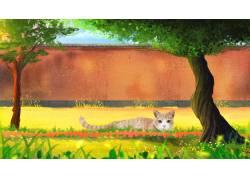 草地上的灰猫萌宠插画