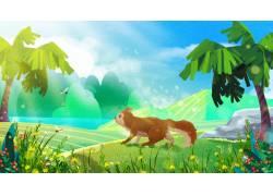 草地上的松鼠萌宠插画