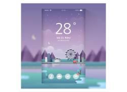 手机屏幕壁纸UI插画