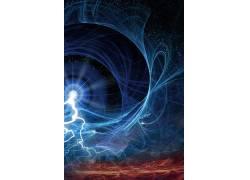 蓝色光线二次元梦幻仙境