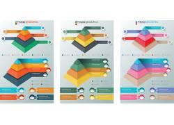 彩色的金字塔线条图表