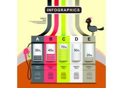彩色的柱形图线条小鸟商务图表