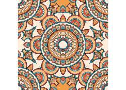 彩色中式花纹圆圈矢量图
