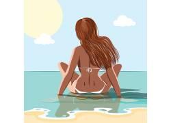 海里的女人图片