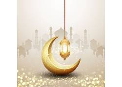 清真寺月亮灯笼开斋节
