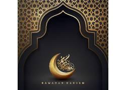 金色的月亮清真寺花纹开斋节