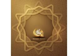 金色的线条花纹清真寺开斋节