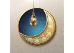金色的花纹月亮灯笼开斋节