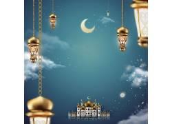 清真寺灯笼蓝天月亮开斋节