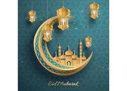 金色的月亮清真寺灯笼开斋节