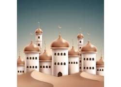 白色的清真寺蓝天开斋节