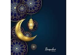 金色的月亮清真寺花纹蓝色开斋节