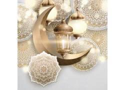 金色的清真寺花纹开斋节