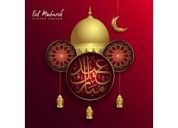 金色的清真寺月亮花纹开斋节
