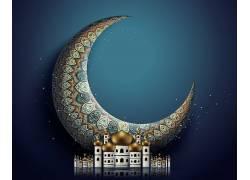 彩色的花纹月亮清真寺蓝色开斋节