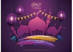 紫色清真寺灯笼开斋节