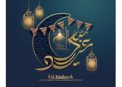 金色的灯笼彩旗清真寺开斋节