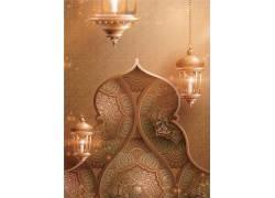 金色的清真寺灯笼花纹开斋节