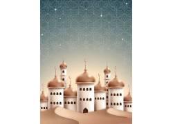 白色的清真寺花纹开斋节