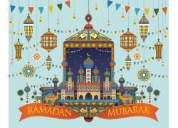 彩色的清真寺灯笼彩旗开斋节