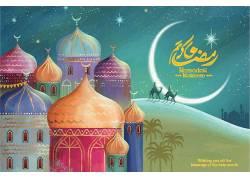 清真寺星月骆驼开斋节
