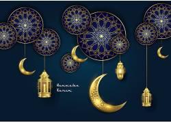 金色花纹星月灯笼开斋节