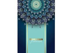 蓝色的花纹丝带开斋节