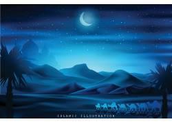 蓝色的山脉星月树林开斋节