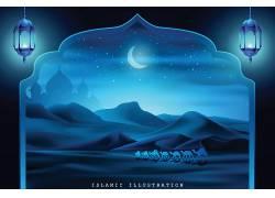 蓝色的灯笼星月山脉开斋节