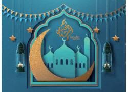 蓝色的清真寺星月彩旗开斋节