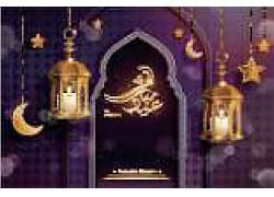 金色的灯笼清真寺星月开斋节